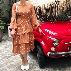 Caramel polka-dot ruffle midi dress